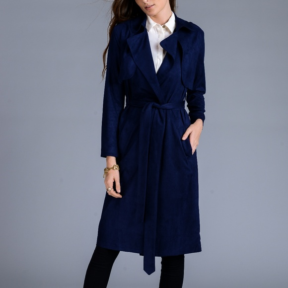 16ee97ba1 Navy Faux suede trench coat Boutique